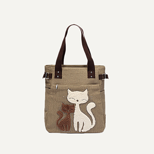 HEY CUTE CATS DESIGNS CANVAS GIRL'S HAND BAGS
